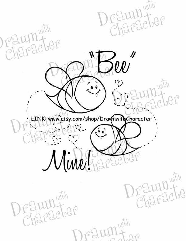 Valentine's Bees Digital Stamp Art/ KopyKake Image by DrawnbyKrista on Etsy https://www.etsy.com/uk/listing/174962307/valentines-bees-digital-stamp-art