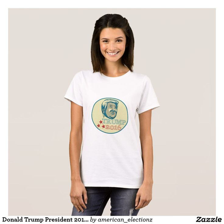 """Donald Trump President 2016 Oval T-Shirt. 2016 American elections women's t-shirt with an illustration showing American real estate magnate, television personality, politician and Republican 2016 presidential candidate Donald John Trump with the words """"Trump 2016."""" #Trump2016 #republican #americanelections #elections #vote2016 #election2016"""
