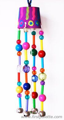Beaded Wind Chimes craft - We tried this one -- super simple but can take time with children who want to get a perfect pattern going. I would say anyone age 4 and up can do this project.