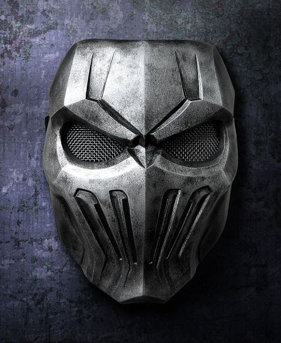 Silver skull fiberglass mask rock style