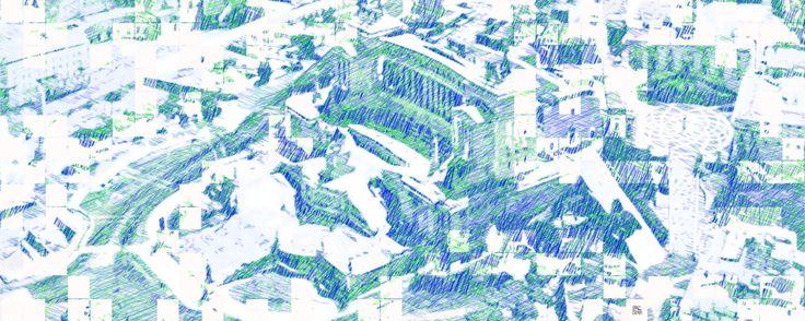 Roma 267 m green-blue - Arts numériques ©2017 par Massimo Corona -                                                                                                                                            Art figuratif, Peinture contemporaine, Réalisme, Aérien, Architecture, Villes, Paysage urbain, Couleurs, Lieux, Paysage, paesaggio urbano, veduta aerea, Roma, Italia, monumento, Complesso del Vittoriano, piazza