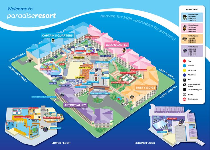 Check out the Resort Map so you can find where everything is.