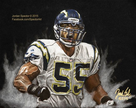 Junior Seau Art Print San Diego Chargers Wall Art
