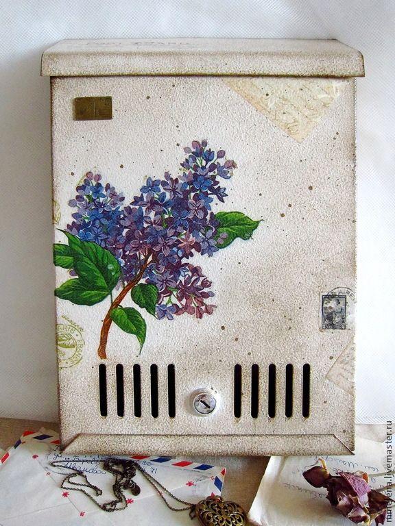 """Купить Почтовый ящик """"Ветка сирени"""" - бежевый, темно-бежевый, цветы, сирень, сиреневый"""