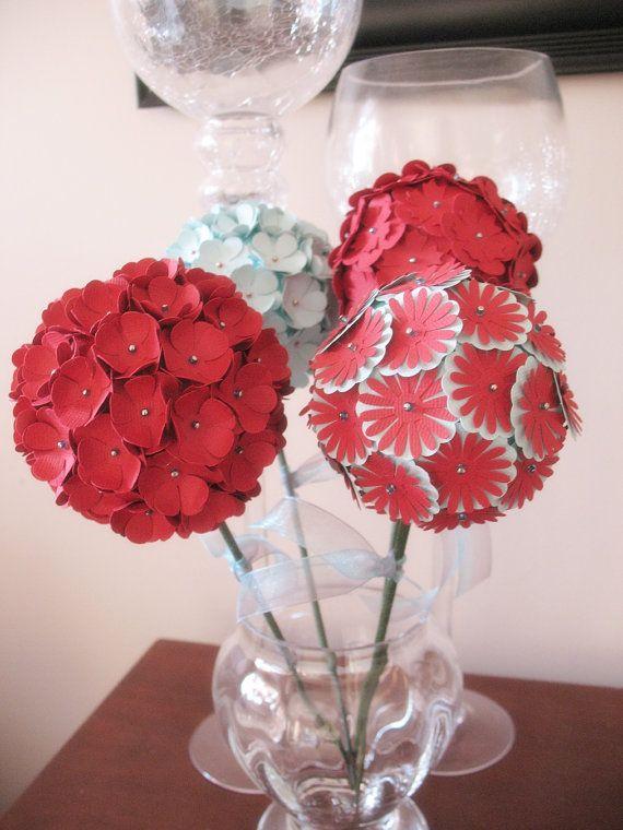 4 Globe Flowers Paper Flower Decoration Centerpiece by iecreations, $48.00