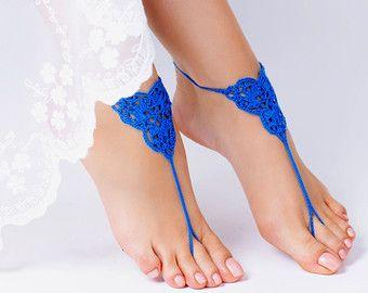 Crochet azul sandalias Descalzas, joyería, regalo de la Dama de honor, pies descalzos sandles, playa, tobillera, boda, boda en playa, verano de los zapatos