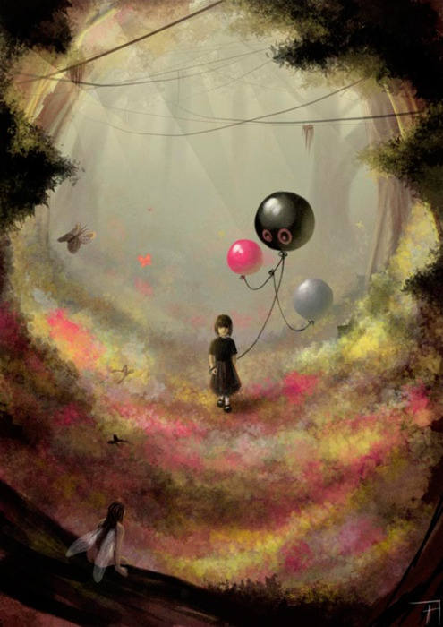 Whimsical art.. Balloons are always magical