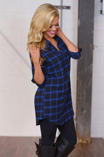A Night Like This Flannel Shirt Dress - Blue
