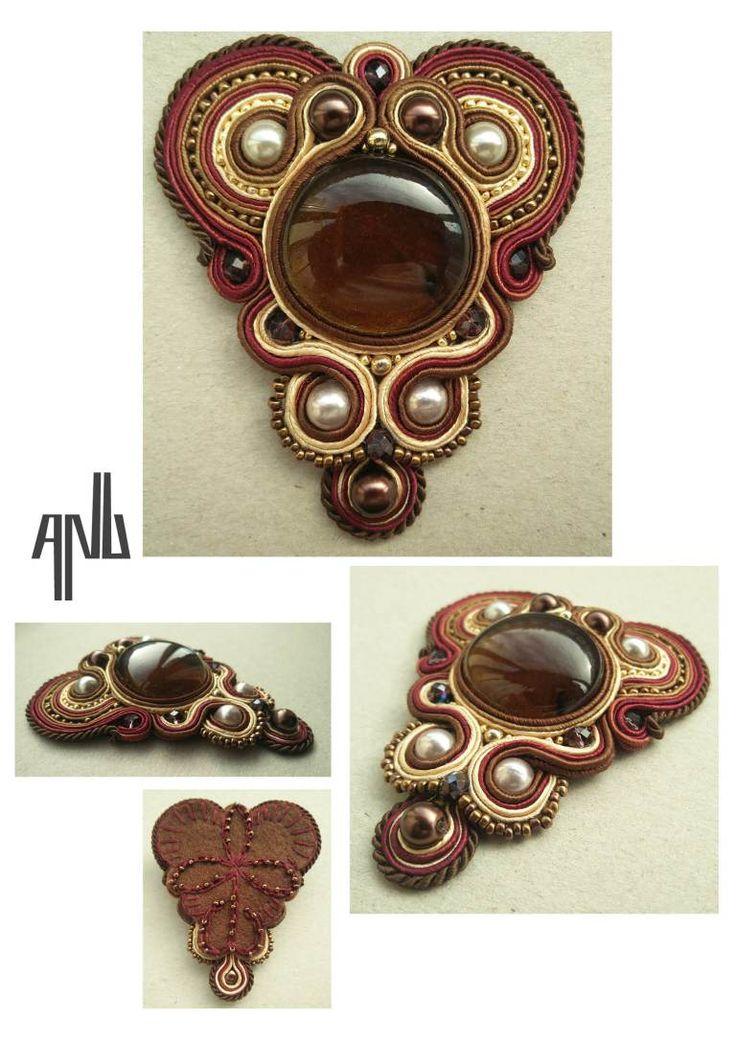 Handmade ANU Jewelry Soutache Pendant Chocholate