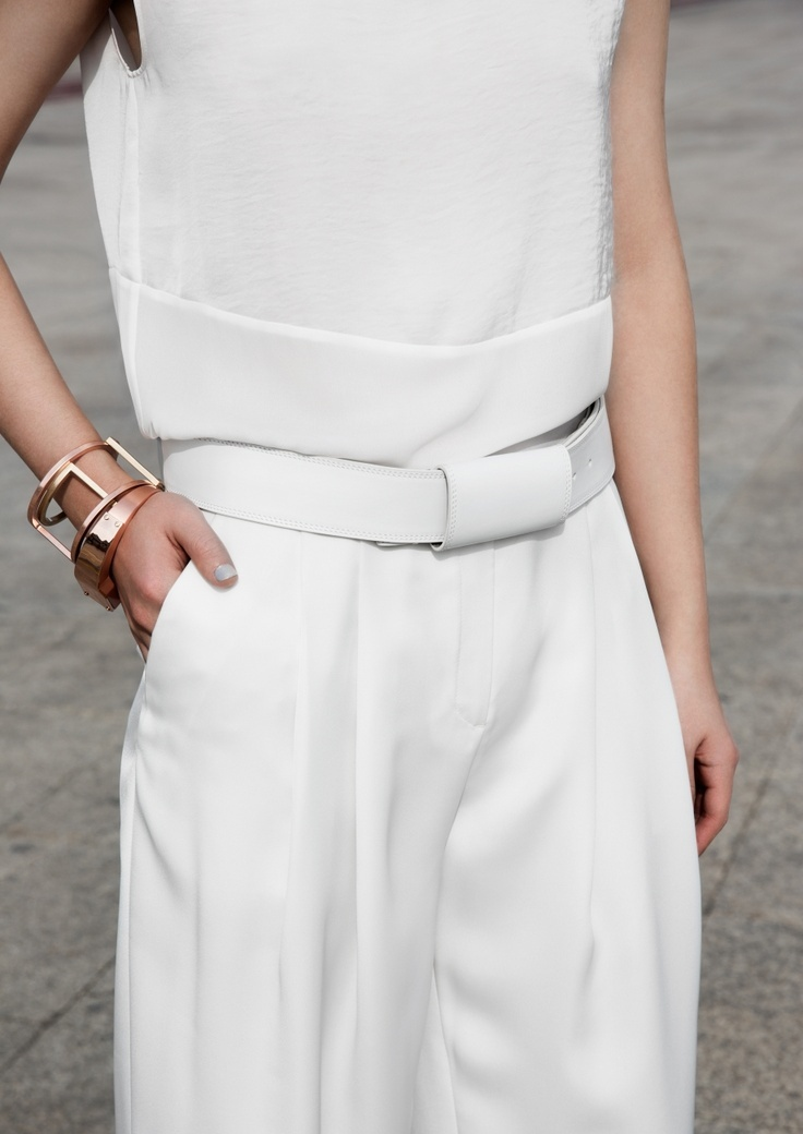 Dress up a chic all-white ensemble with rose gold accents #inspiration