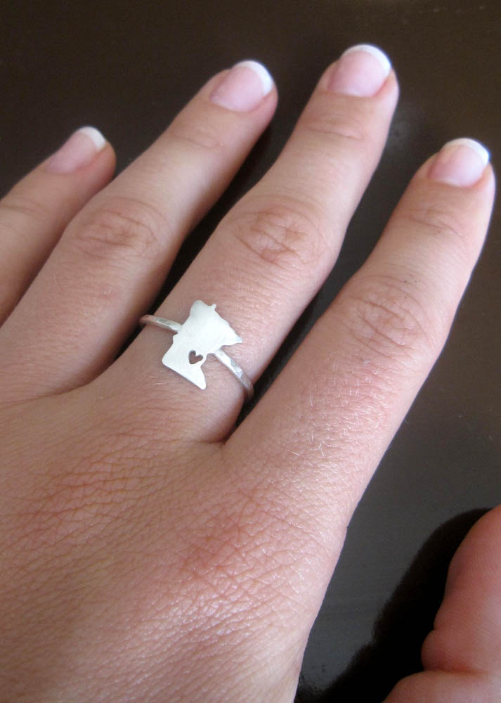 State Love Ring in Sterling Silver