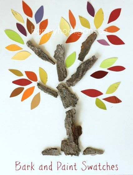 Bark & Paint Swatch Fall Tree Craft (from Happy Hooligans)