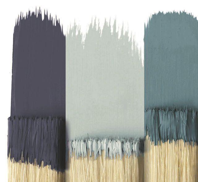 """Peinture mur et plafond, finition mate, gamme Divali, coloris """"Abysse 226, Minéral 165 et Jean 171"""", Saint Maclou, 24,90 euros/1L"""