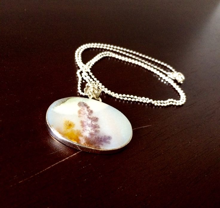 Sterling Silver Dendritic Agate Necklace Ball Chain Oval Scenic by SageandSynergy on Etsy #DendriticAgate #Sterling Silver #Necklace #SageandSynergy #scenic #healingstonesandcrystals #gifts