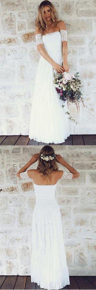 A-Line Off-the-Shoulder Short Sleeves Backless White Lace Boho Wedding Dresses UK,#white#shortsleeve#boho#offshoulder#bridaldress,#dressforwedding #bohoweddingdress