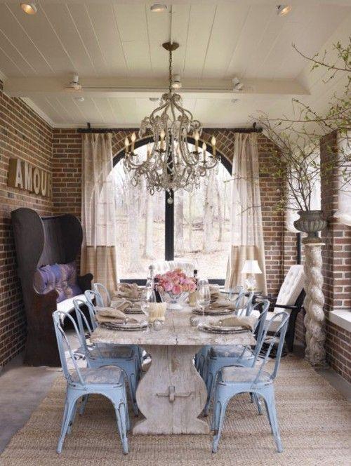 Rustic Dining RoomDecor, Dining Area, Dining Room, Bricks Wall, Shabby Chic, Farmhouse Tables, Exposed Brick, Expo Bricks, Farms Tables
