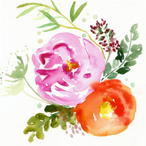 35% Off SALE - Eva -  Watercolor Painting - Abstract Floral - Pink - Peony - Illustration - 11x11 Giclee Print - Home Decor