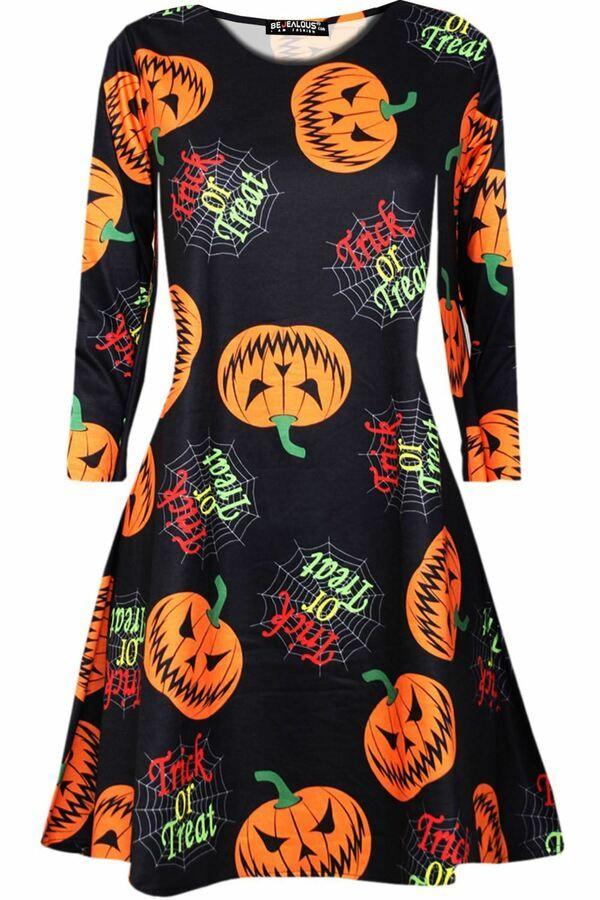 Kids Halloween Costume Skeleton Print Long Sleeve Flared Smock Swing Mini Dress