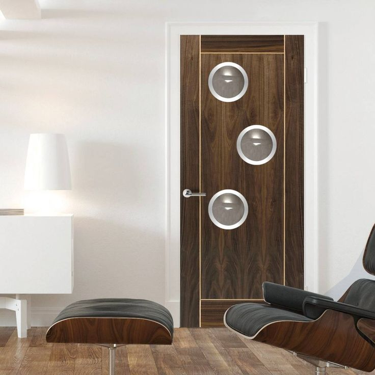 JBK Porthole 3 SP Vina Walnut Fire Door with Oak Inlays is Pre-Finished - 30 Minute FC  , this door will provide good fire safety for your office. #designerofficedoor #internalofficedoor #portholesofficedoor