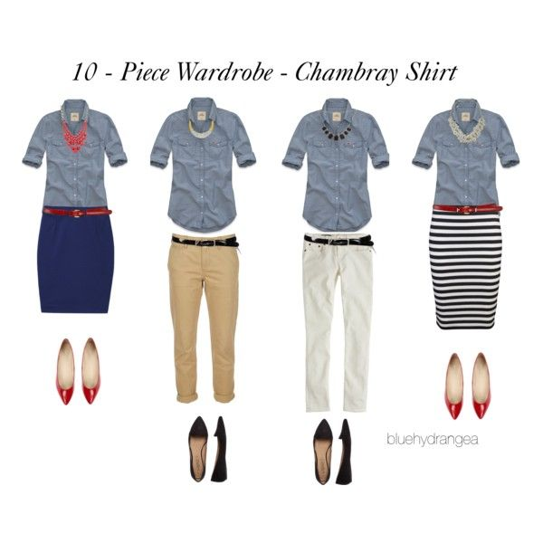 """10 - Piece Wardrobe - Chambray Shirt"" by bluehydrangea on Polyvore"
