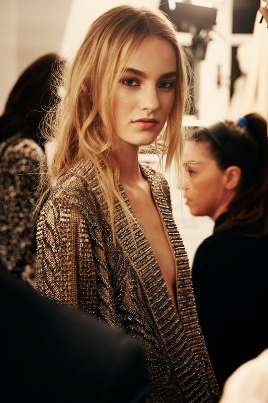 A beaded dress with deep V neck backstage at Emilio Pucci AW14 MFW. More images here: http://www.dazeddigital.com/fashion/article/18981/1/emilio-pucci-aw14