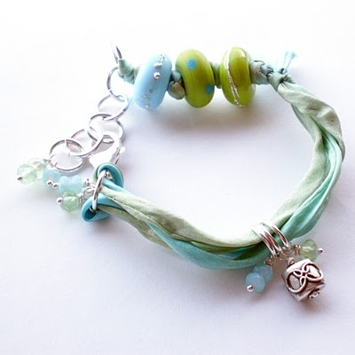 Songbeads: Silk Bracelets--SMART!  USE THE SILK, ITALIAN RIBBON WITH THESE BEADS TO MAKE A NICE PIECE