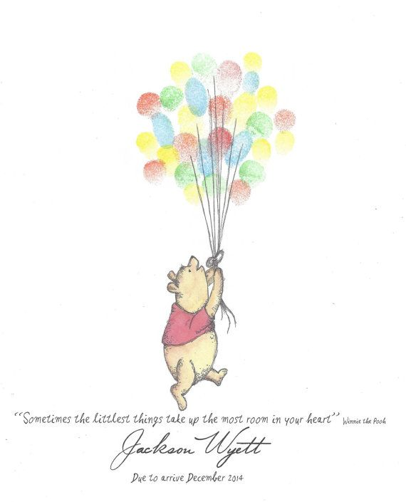 Bear with Red Shirt being lifted by Balloons by PTWatersDesigns