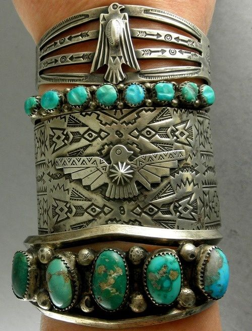 ➳➳➳☮ American Hippie Bohemian Boho Feathers Gypsy Spirit Style ~ Jewelry .. Silver Turquoise Cuffs