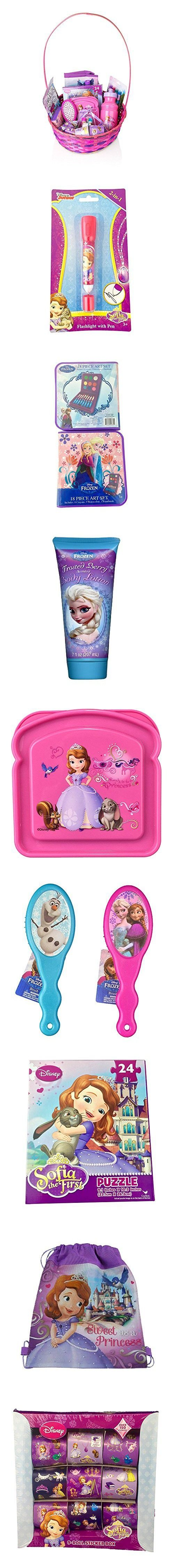 Disney Frozen Sofia The First Baby Girl Gift Basket, 20+ Piece Bundle Filled Basket of Fun Gift Set (3-10 Years Old Girls), Perfect for Birthdays, Easter, Christmas, Get Well, or Other Occasion!