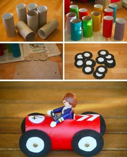 Manualidad cochecitos de colores diy pinterest - Manualidades con rollos de papel higienico para navidad ...