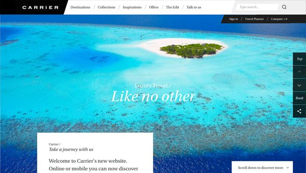 Carrier - beautiful and refreshing travel website