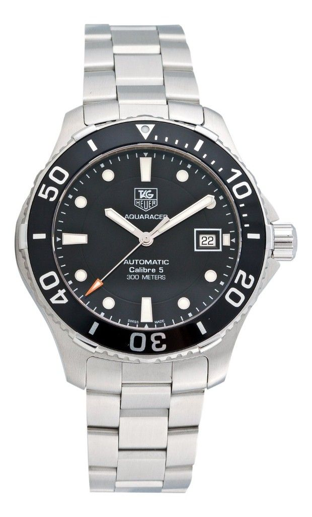 Tag Heuer men watches : Tag Heuer Men's Aquaracer Calibre 5 Stainless Steel Black Dial Watch #WAN2110.BA0822