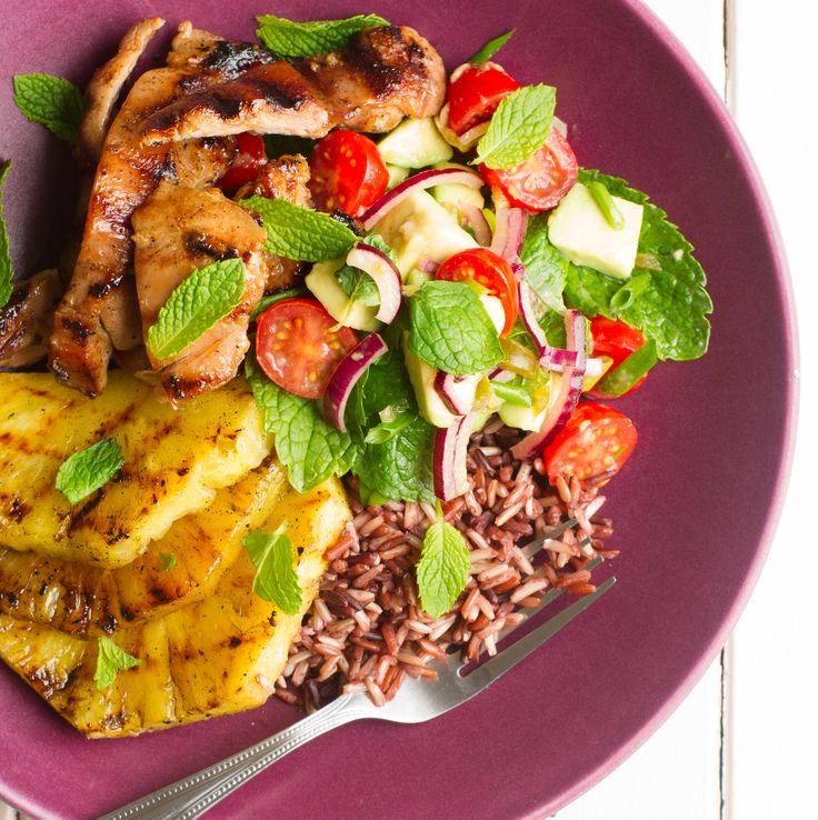 My Food Bag - Nadia Lim - Recipes - Mojito Chicken and Wild Rice Salad with Grilled Pineapple