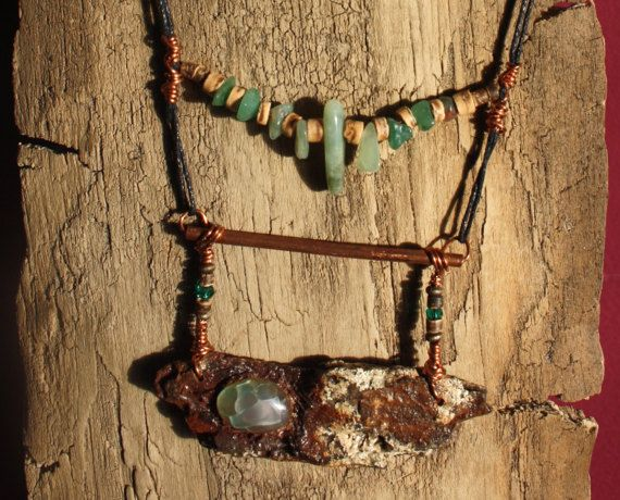 One of a kind necklace. Dragon vein agate stone  green by TribeAll