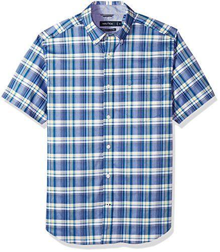 Nautica Men s Wrinkle Resistant Short Sleeve Plaid Button Down Shirt ... 7b89d1021