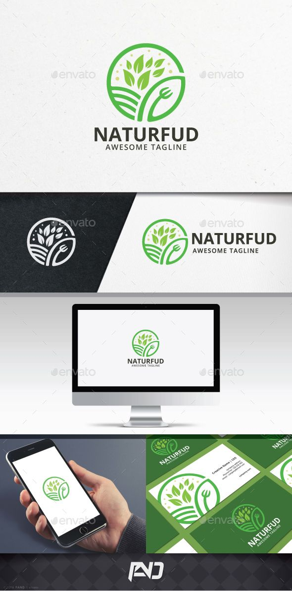 Nature Food Logo Template You can use this logo for any business, health, food, organic, green, vegetable, farm, nutrition, etc