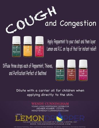 Our family uses this amazingness to get instant relief from cough and congestion. Young Living essential oils. Apply peppermint to the chest and then layer lemon and R.C. on top. We also like to diffuse Peppermint, Thieves, and Purification… especially at night. To learn more about essential oils visit www.joydropper.wendy-cunningham.com: