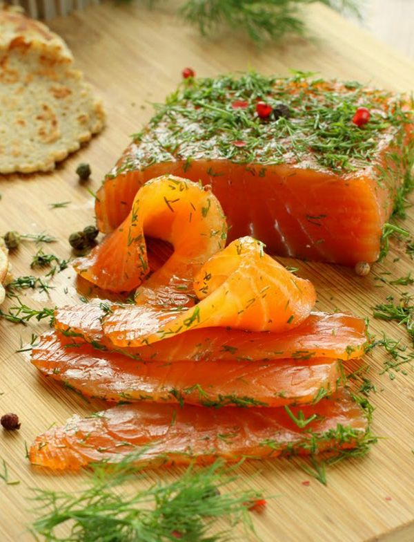 Gravlax Marinated Salmon with Mustard and Dill Sauce and Buckwheat Blinis