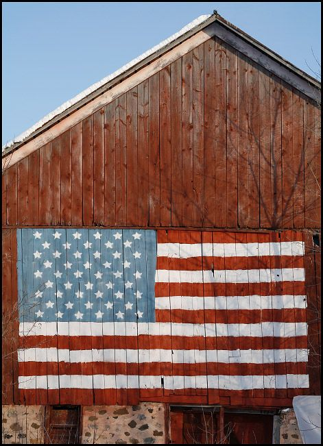 American Flag painted on a red barn in Central Wisconsin