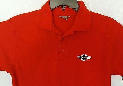 Mens Mini Cooper Factory Employee Work Polo Shirt Medium Red BMW British Car