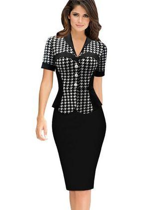 Polyester Tartan Short Sleeve Knee-Length Elegant Dresses