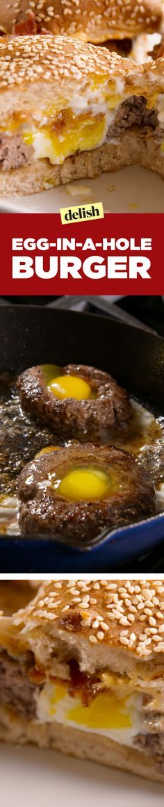 Use Turkey burgers. This egg-in-a-hole burger will one up your regular bacon, egg and cheese. Get the recipe on Delish.com.