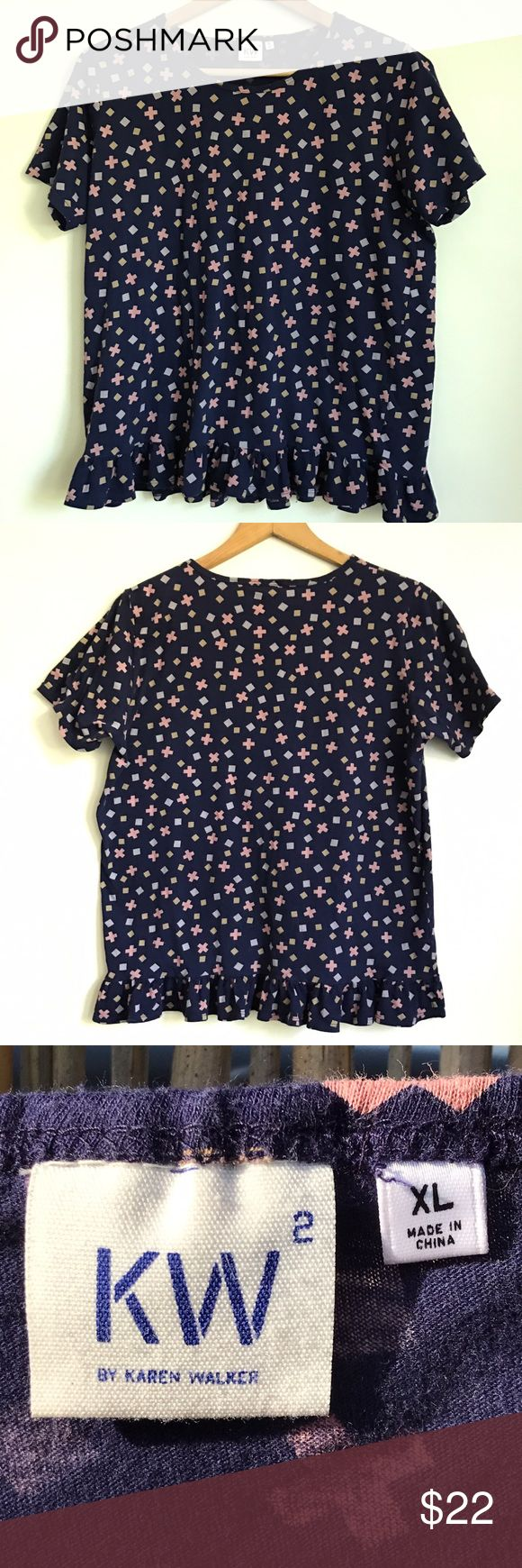 "UNIQLO x Karen Walker Limited Edition Top Worn and washed a few times.  Great condition, no stains, holes or piling. When laying flat measurements are approximately Armpit to armpit  21.5"" and Length 23.5""  2"" width ruffle on bottom Women's XL Uniqlo Tops Blouses"
