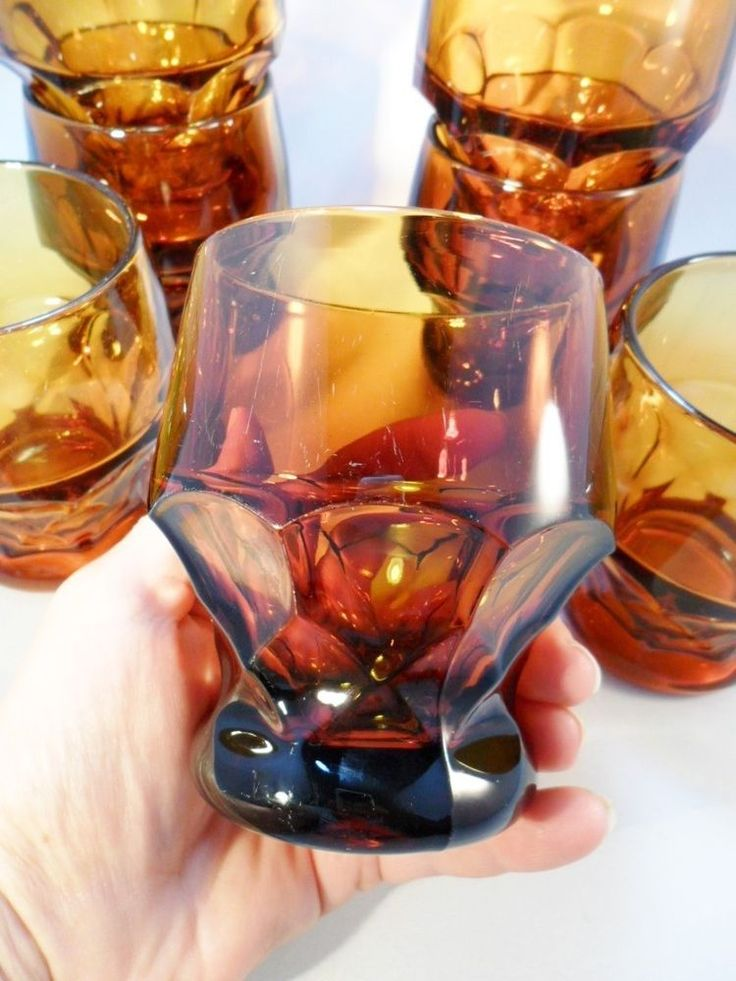 Vintage Glass Amber/Brown Drinking Glasses Set of 7 Lot Tumblers Retro 60's 70's