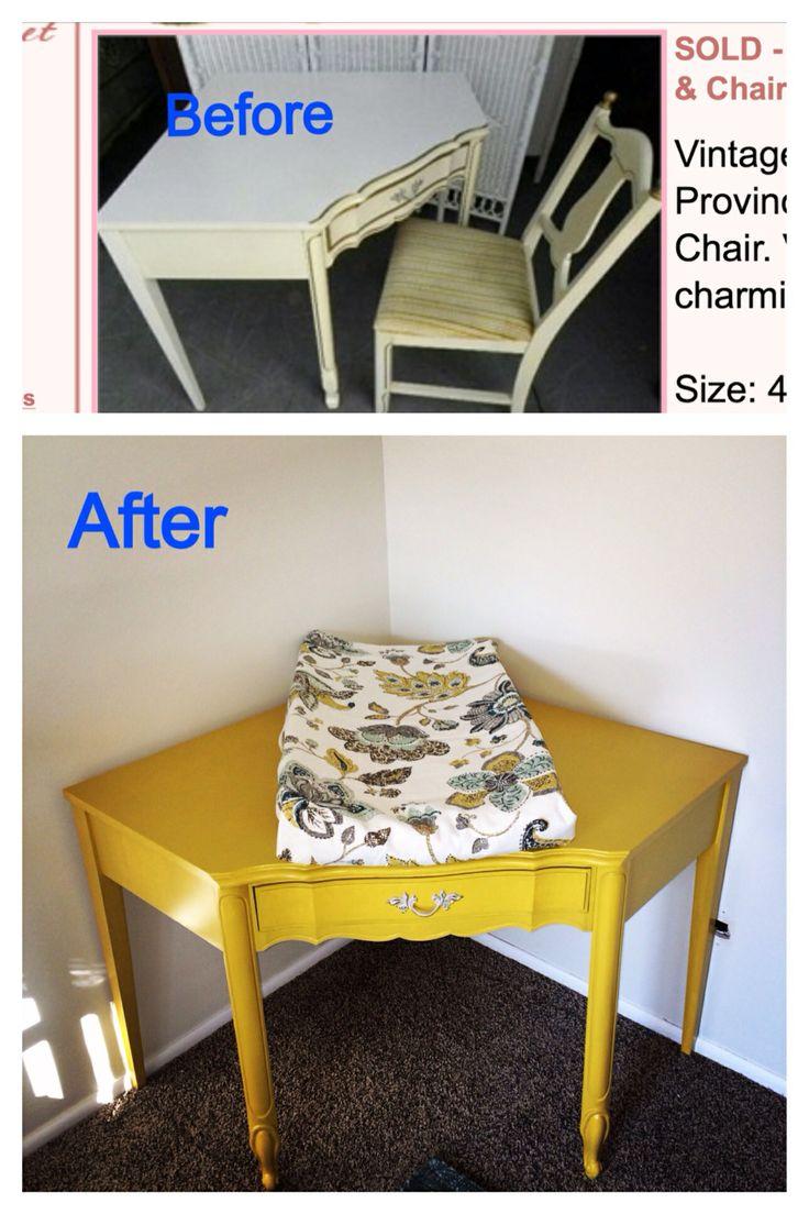 Corner changing table, vintage desk redo