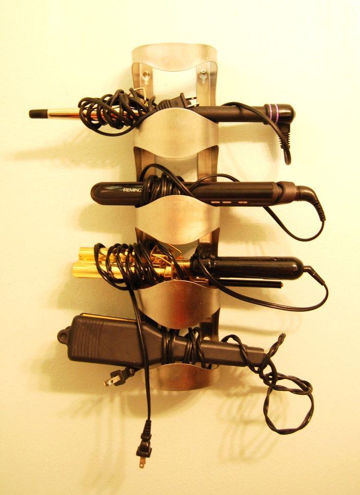 Wine rack blow dryer, flat iron storage