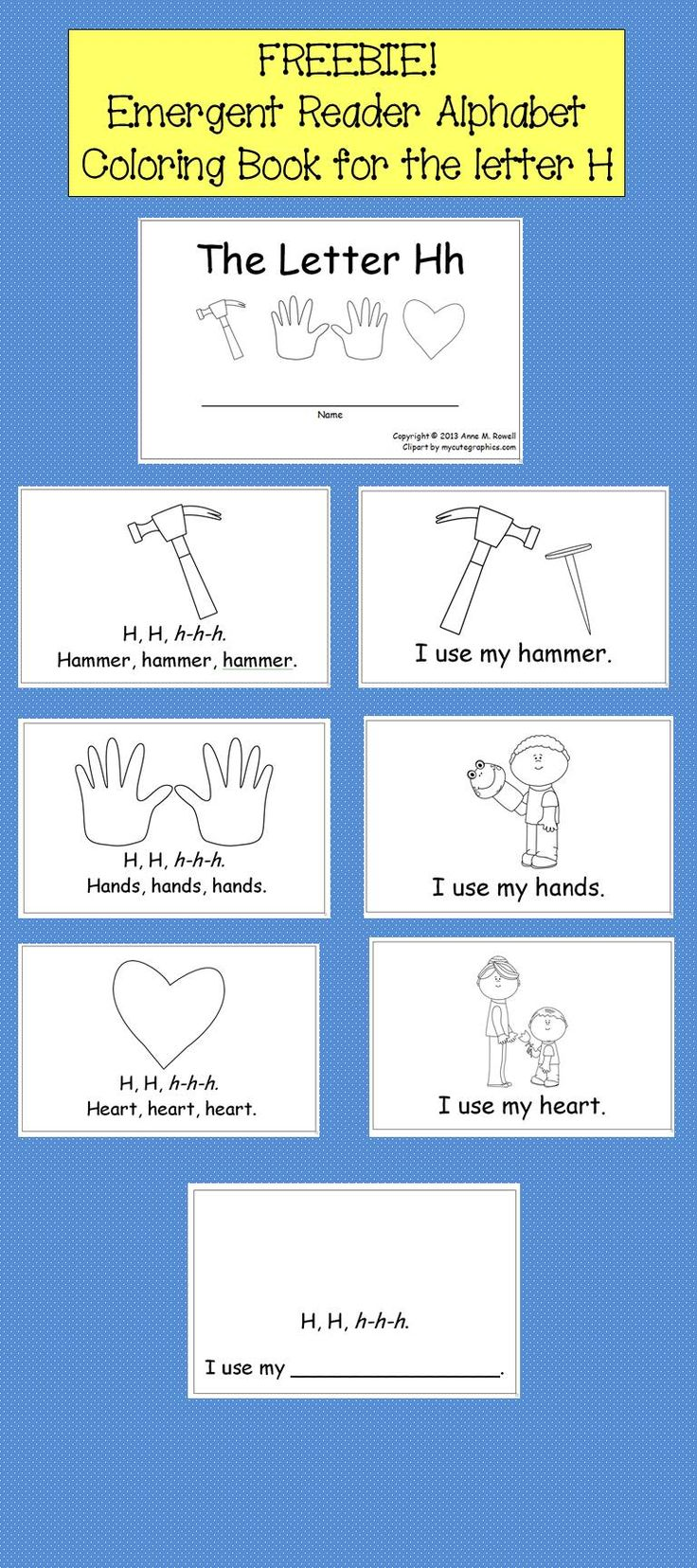 FREEBIE! Emergent Reader Alphabet Coloring Book for the letter H.