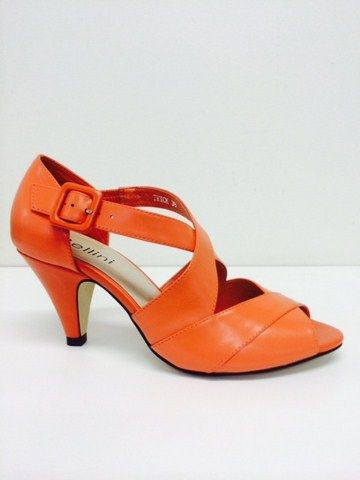 Bellini Trick - M B - Bellini Trick special occasion shoe with peep toe, cross over strap detail with closed heel on a 7cm heel height.  Available in Black, Nude Nappa and Orange.  price 189 NZ$