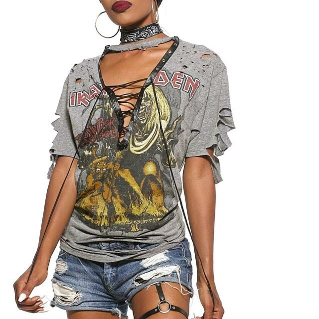 Image of GREY iron maiden corset tie distressed t shirt