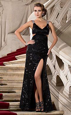 Trumpet/Mermaid V-neck Floor-length Sequined Evening Dress